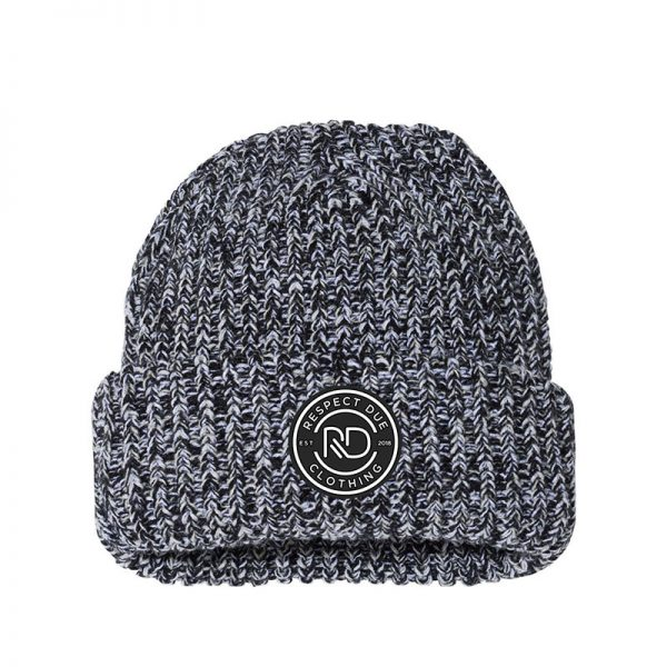 RD 12 Chunky Knit Beanie Black Natural