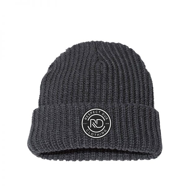 RD 12 Chunky Knit Beanie Charcoal