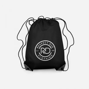 RD Drawstring Bag Front View Black