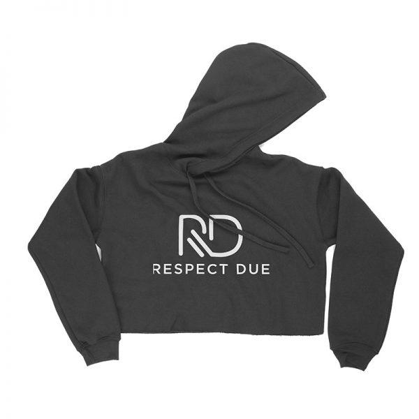 RD Ladies Cropped Fleece Hoodie Dark Grey Heather