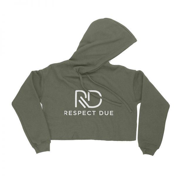 RD Ladies Cropped Fleece Hoodie MILITARY GREEN