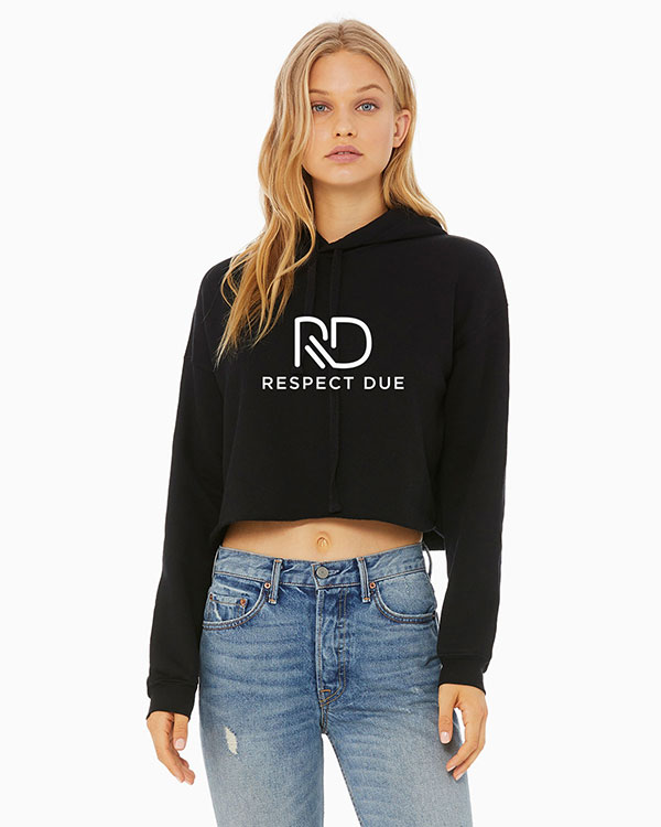 RD Ladies Cropped Fleece Hoodie Model