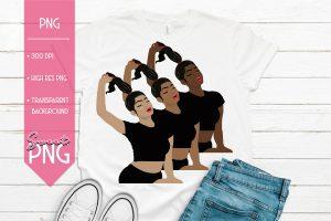 Ponytail Girl Black Trio Mockup 1500