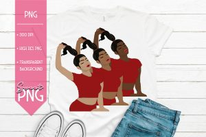 Ponytail Girl Red Trio Mockup 1500