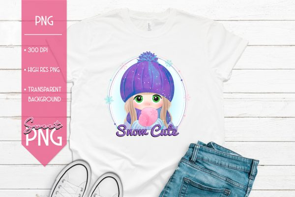 Snow Cute Girl Mockup