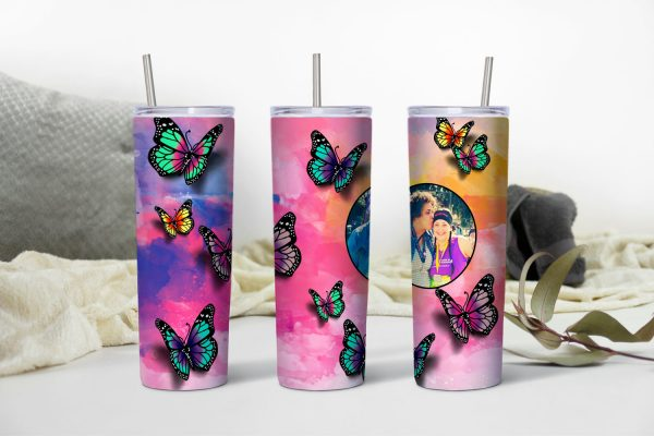 Butterfly Themed Tumbler with Photo Mockup Personalized