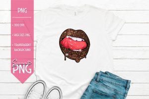 Copper Glitter Lips Sweet PNG Mockup