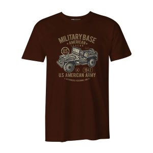 American Army Jeep T Shirt Brown