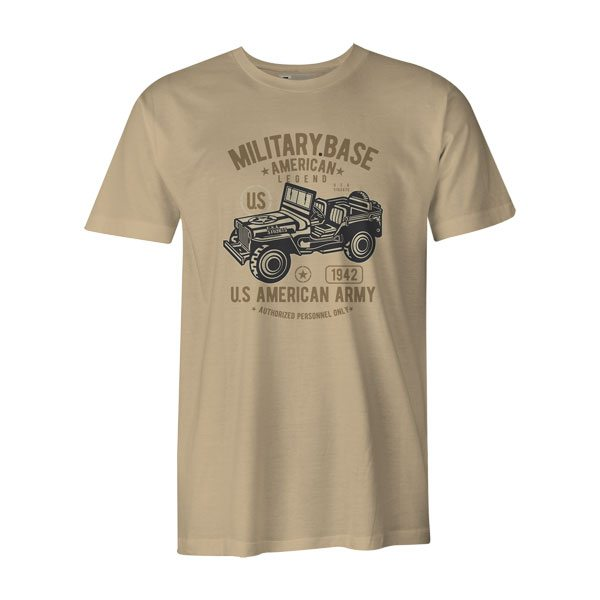 American Army Jeep T Shirt Natural