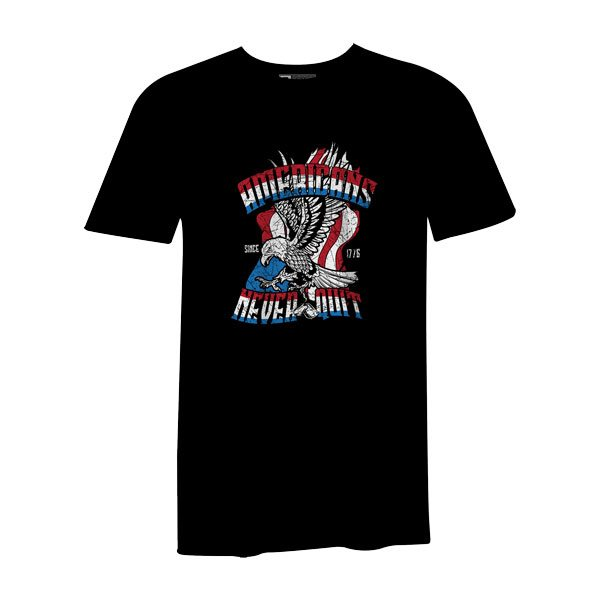 Americans Never Quit T Shirt Black