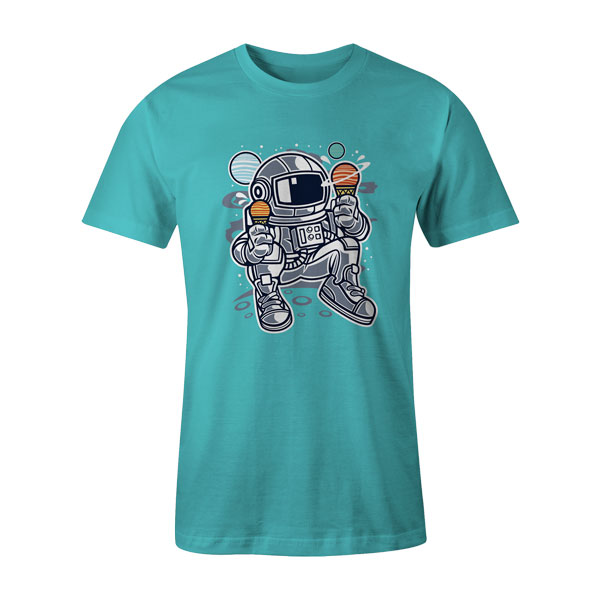 Astronaut Ice Cream T Shirt Aqua