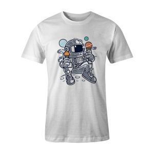Astronaut Ice Cream T Shirt White