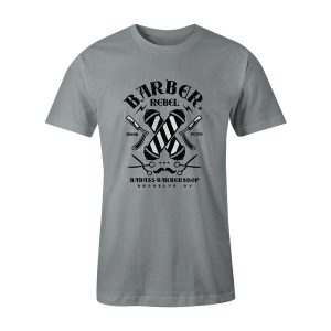 Barber Rebel II T Shirt Silver