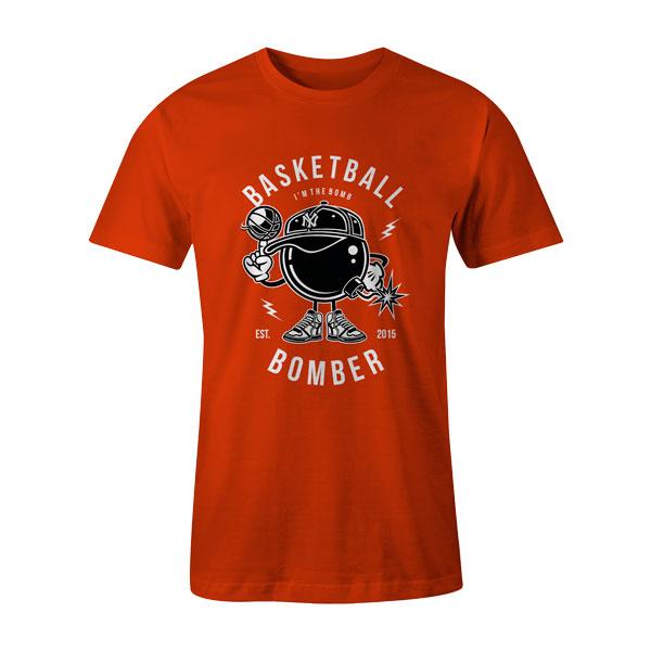 Basketball Bomber T Shirt Orange