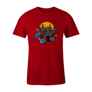 Boombox Robot T Shirt Red