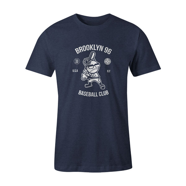 Brooklyn Baseball T Shirt Heather Denim
