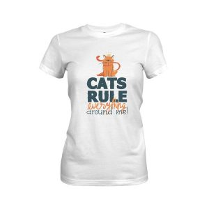 Cats Rule Everything Around Me T Shirt White