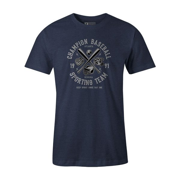 Champion Baseball T Shirt Heather Denim