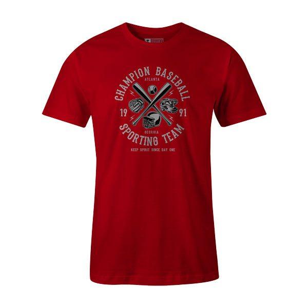 Champion Baseball T Shirt Red