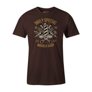 Daily Special Barber Shop T Shirt Brown