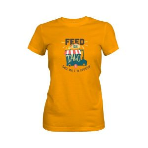 Feed Me and Tell Me Im Pretty T Shirt Gold