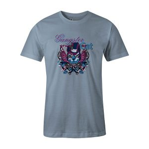 Gangster Cat T shirt baby blue