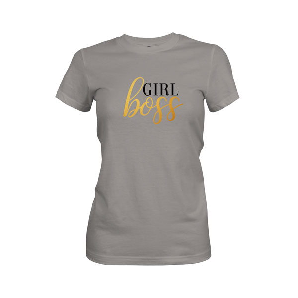 Girl Boss T Shirt Warm Grey
