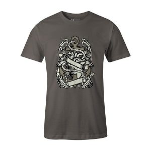 Heart and Anchor T Shirt Charcoal