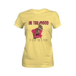 In the Mood To Sleep For 3 Years Cat T shirt banana cream