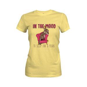 In the Mood To Sleep For 3 Years Cat T shirt banana cream