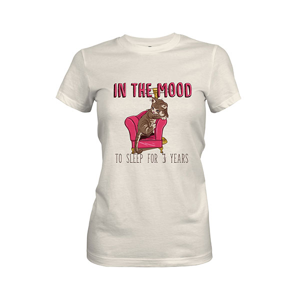 In the Mood To Sleep For 3 Years Cat T shirt ivory