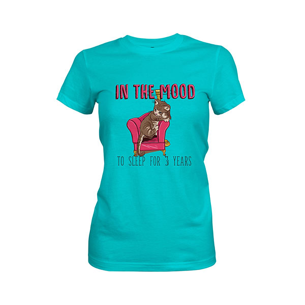 In the Mood To Sleep For 3 Years Cat T shirt tahiti blue