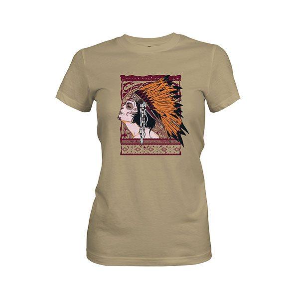 Indian Girl T shirt light olive
