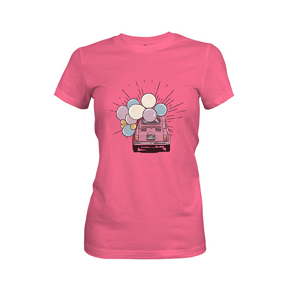 Just Married T shirt hot pink