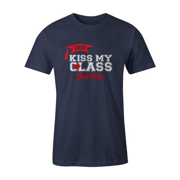Kiss My Class T Shirt Heather Denim