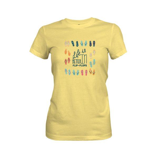 Life Is Better In Flip Flops T Shirt Banana Cream