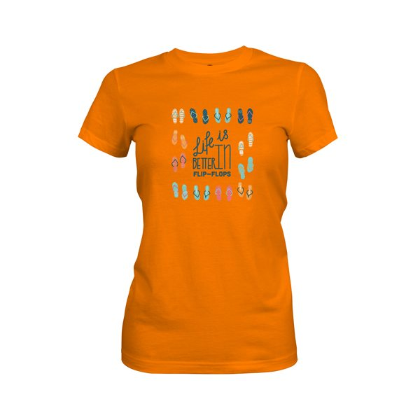 Life Is Better In Flip Flops T Shirt Classic Orange