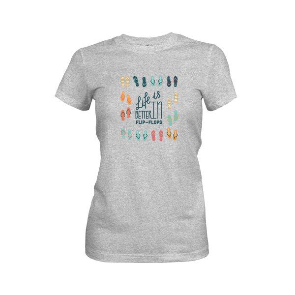 Life Is Better In Flip Flops T Shirt Heather Grey