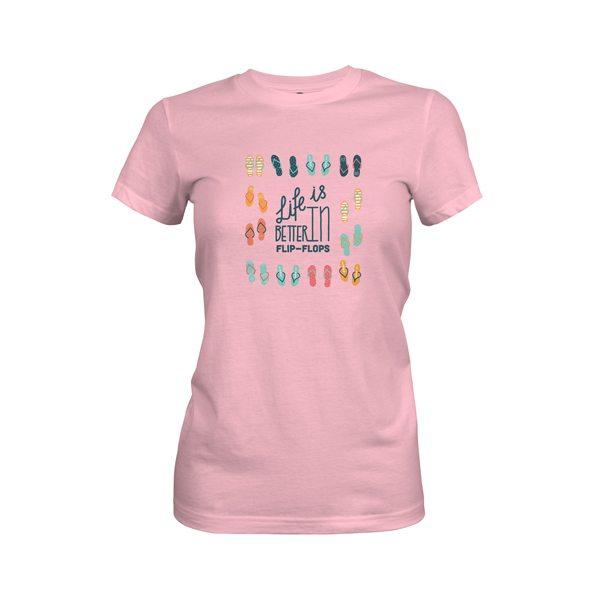 Life Is Better In Flip Flops T Shirt Light Pink