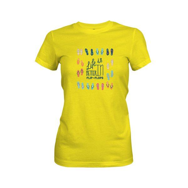 Life Is Better In Flip Flops T Shirt Vibrant Yellow