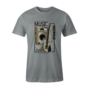 Live Music T shirt silver