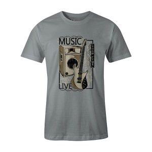 Live Music T shirt silver