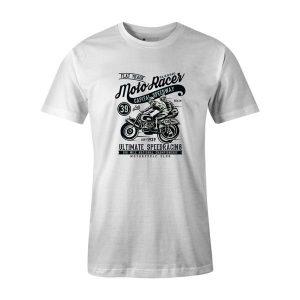 Moto Racer Classic T Shirt White
