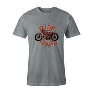 Never Ride Faster Than Your Angel Can Fly T shirt silver