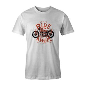 Never Ride Faster Than Your Angel Can Fly T shirt white