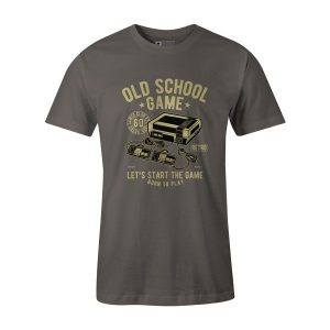 Old School Game T Shirt Charcoal