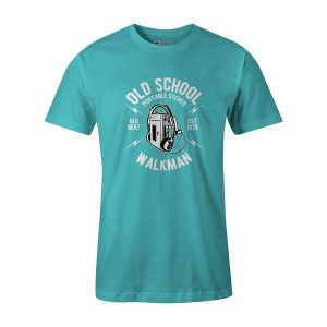 Old School Walkman T Shirt Aqua