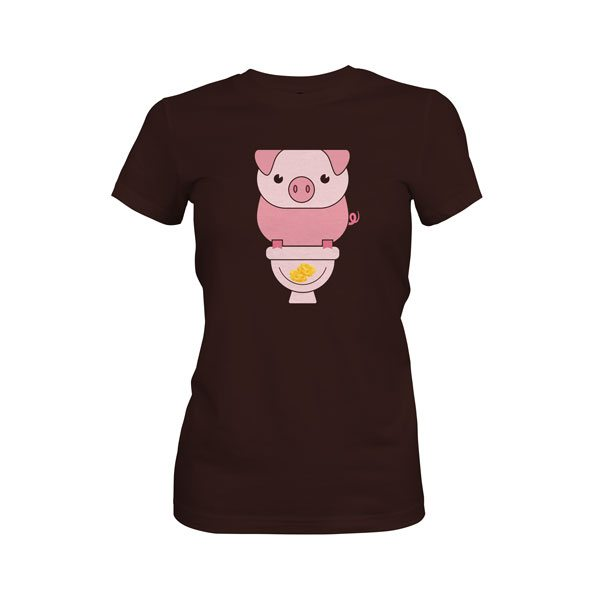 Piggy Bank T Shirt Dark Chocolate