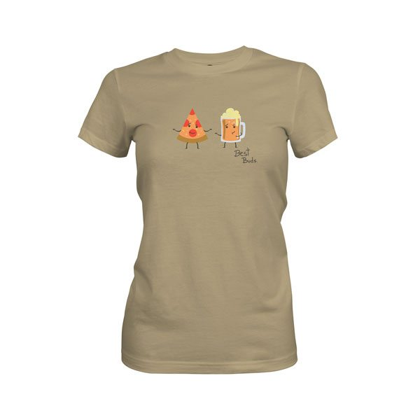 Pizza and Beer Best Buds T Shirt Light Olive