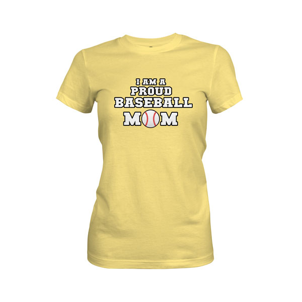 Proud Baseball Mom T Shirt Cancun Banana Cream